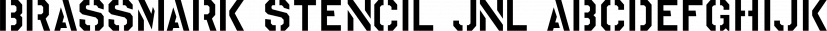 Brassmark Stencil JNL font family by Jeff Levine Fonts